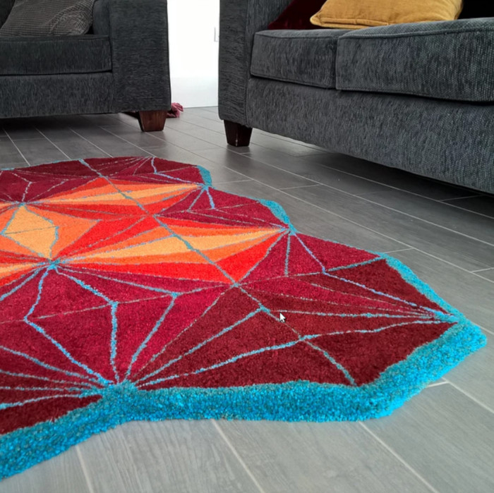 Diagonal 100% wool hand made tufted rug designed & created by Artefakt Rugs