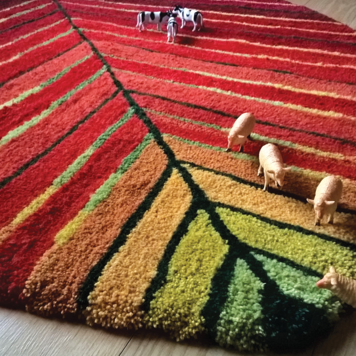 Leaf 100% wool hand made tufted rug designed & created by Artefakt Rugs