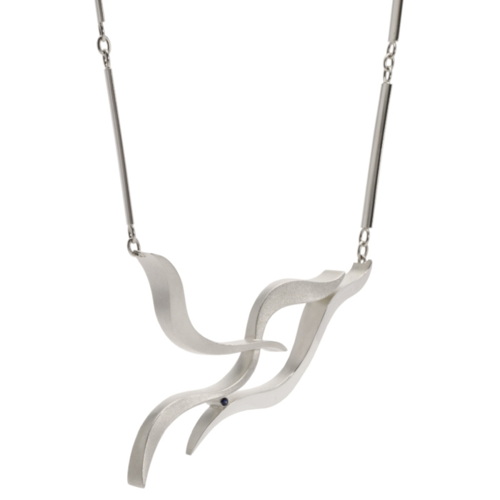 Hollow geometric silver pendant with sweeping fluid forms and handmade chain, designed & created by Doireann O'Riordan