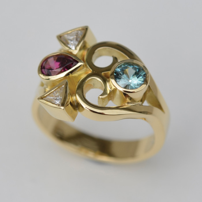 18ct Gold Tourmaline, Topaz, Rubellite and Diamond Gemstone Ring designed & created by Friederike Grace - Spirit Jewellery