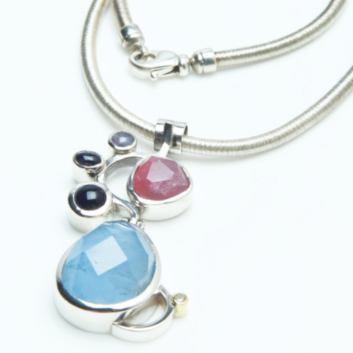 Aquamarine, Diamond and Tourmaline Silver Gemstone Pendant designed & created by Friederike Grace - Spirit Jewellery