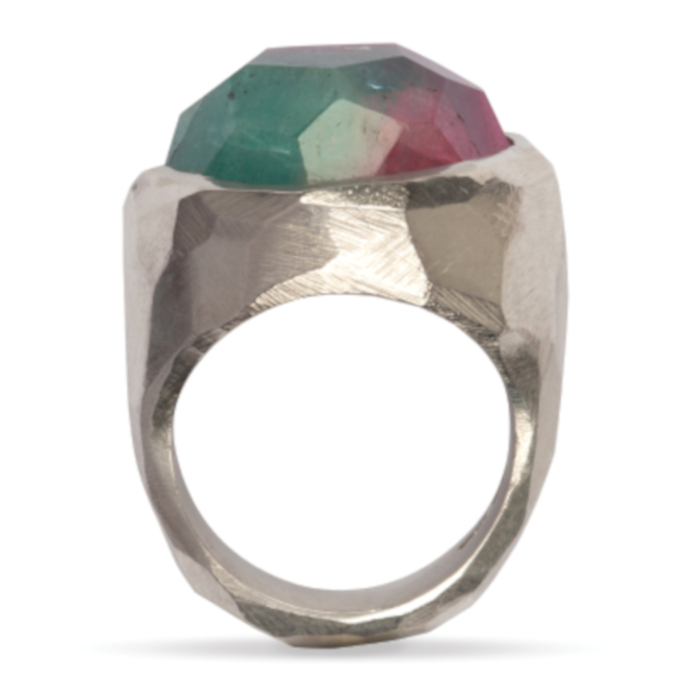 Tourmaline and Silver Dragon Eye Gemstone Ring designed & created by Friederike Grace - Spirit Jewellery