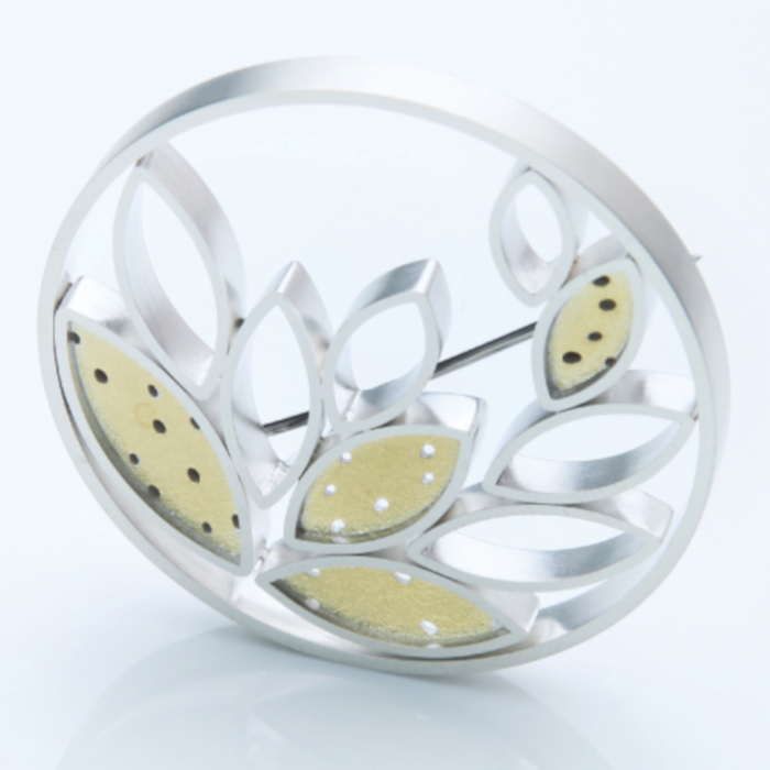 22ct gold and silver brooch designed & created by Inga Reed