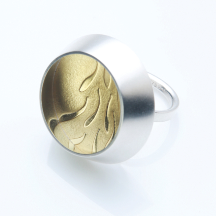 22ct gold and silver embossed ring designed & created by Inga Reed