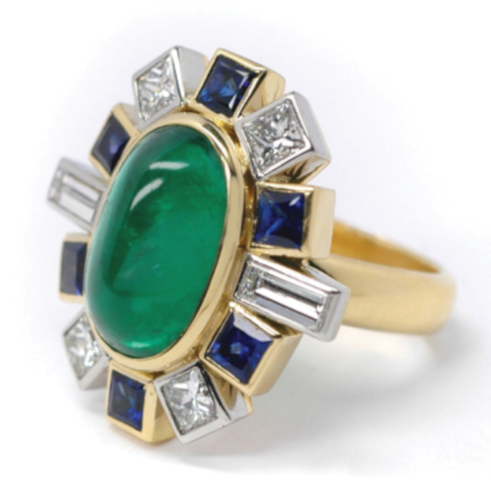 18ct Gold Emerald Sapphire Diamond Ring designed & created by Jane Huston