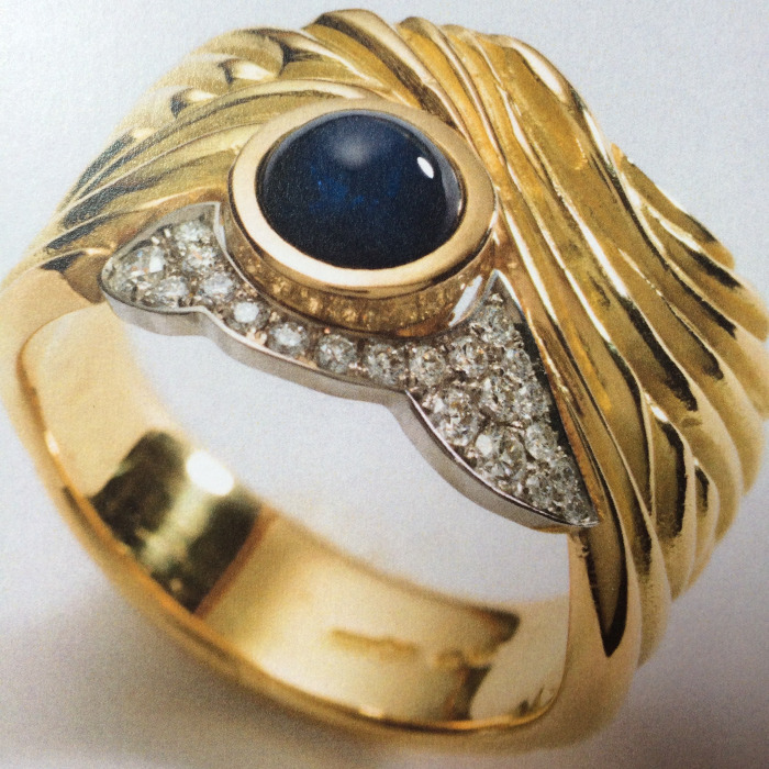 18ct Gold Cabochon Sapphire and Diamond Ring designed & created by Jane Huston