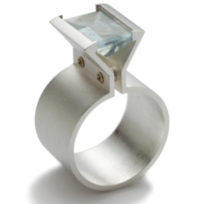 Aqua: Aquamarine dress ring designed & created by Yvonne Ross