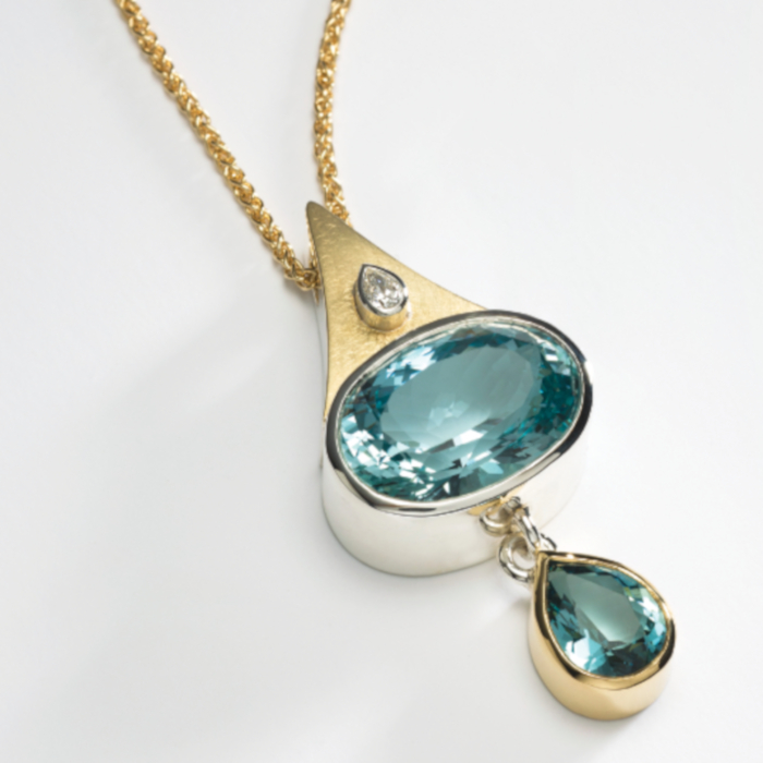 Natural Blue Topaz Pendant designed & created by Yvonne Ross
